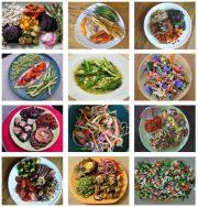 12 Bilder von Tellern mit gesunden, pflanzenbasierten Mahlzeiten